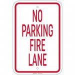 Heavy Gauge No Parking Fire Lane Sign 12 x 18 inch Aluminum Signs Retail Store