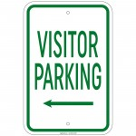 Heavy Gauge Visitor Parking with left arrow Sign 12 x 18 inch Aluminum Signs
