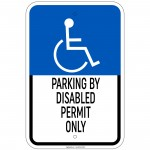 Hvy Ga.Parking By Disabled Permit Only w/ Handicapped Symbol Sign 12