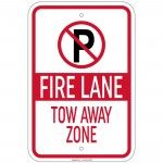 Heavy Fire Lane Tow-Away Zone with 'P' symbol Sign 12