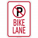Heavy No Parking Bike Lane No Parking symbol Sign 12